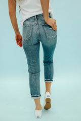 THE FLYING MONKEY DISTRESSED MOM JEAN IN MEDIUM DENIM