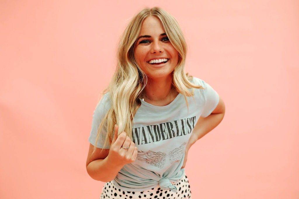 THE WANDERLUST GRAPHIC TEE IN SAGE