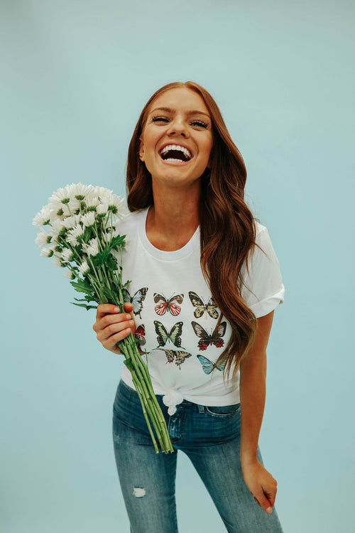 THE BUTTERFLY GRAPHIC TEE IN WHITE