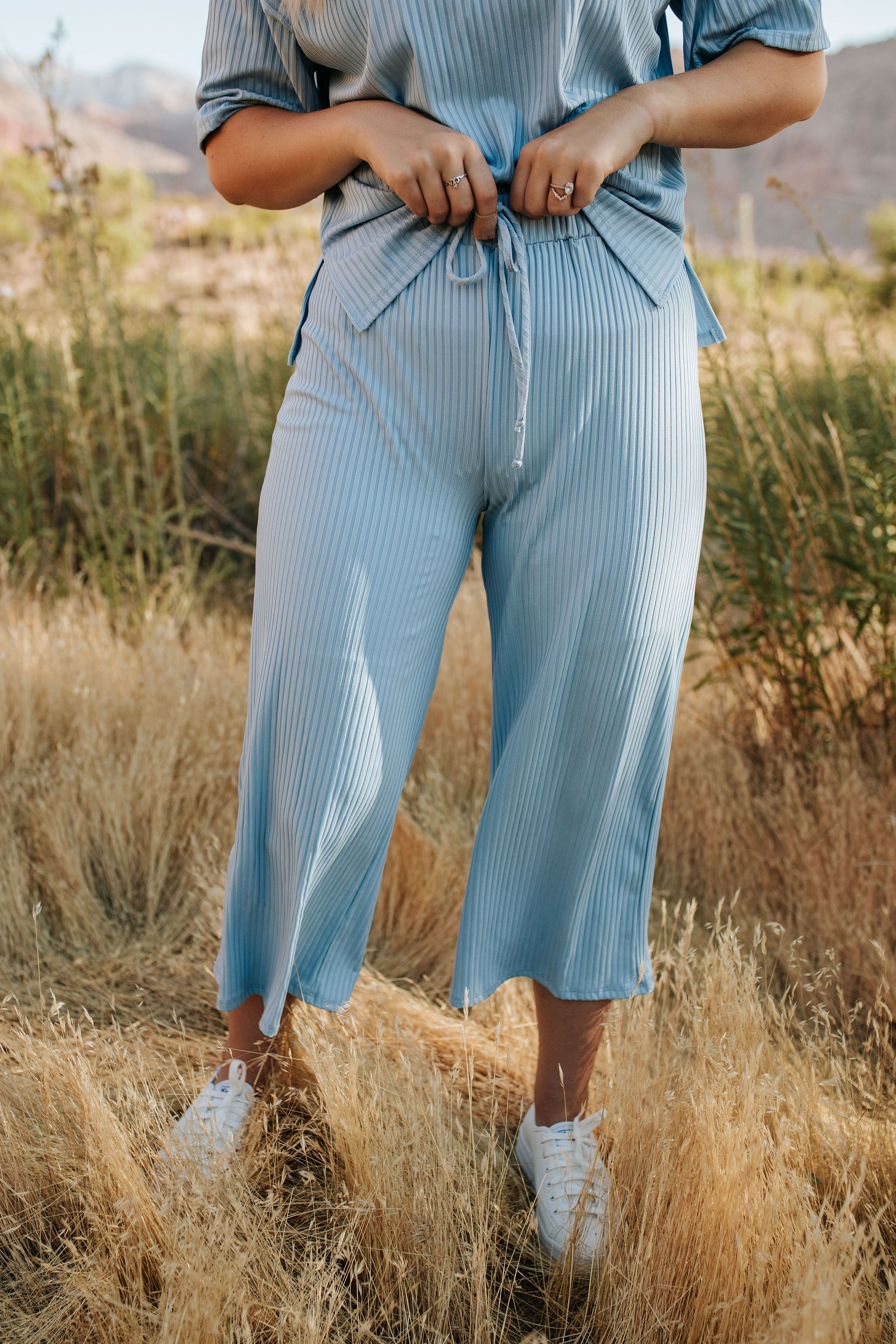 THE REECE RIBBED JOGGER SET IN SKY BLUE