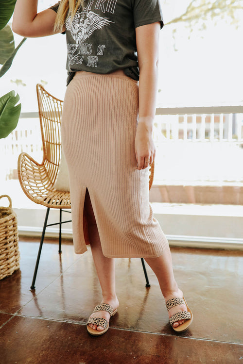 THE TENLEY HIGH WAISTED MIDI SKIRT IN TAUPE