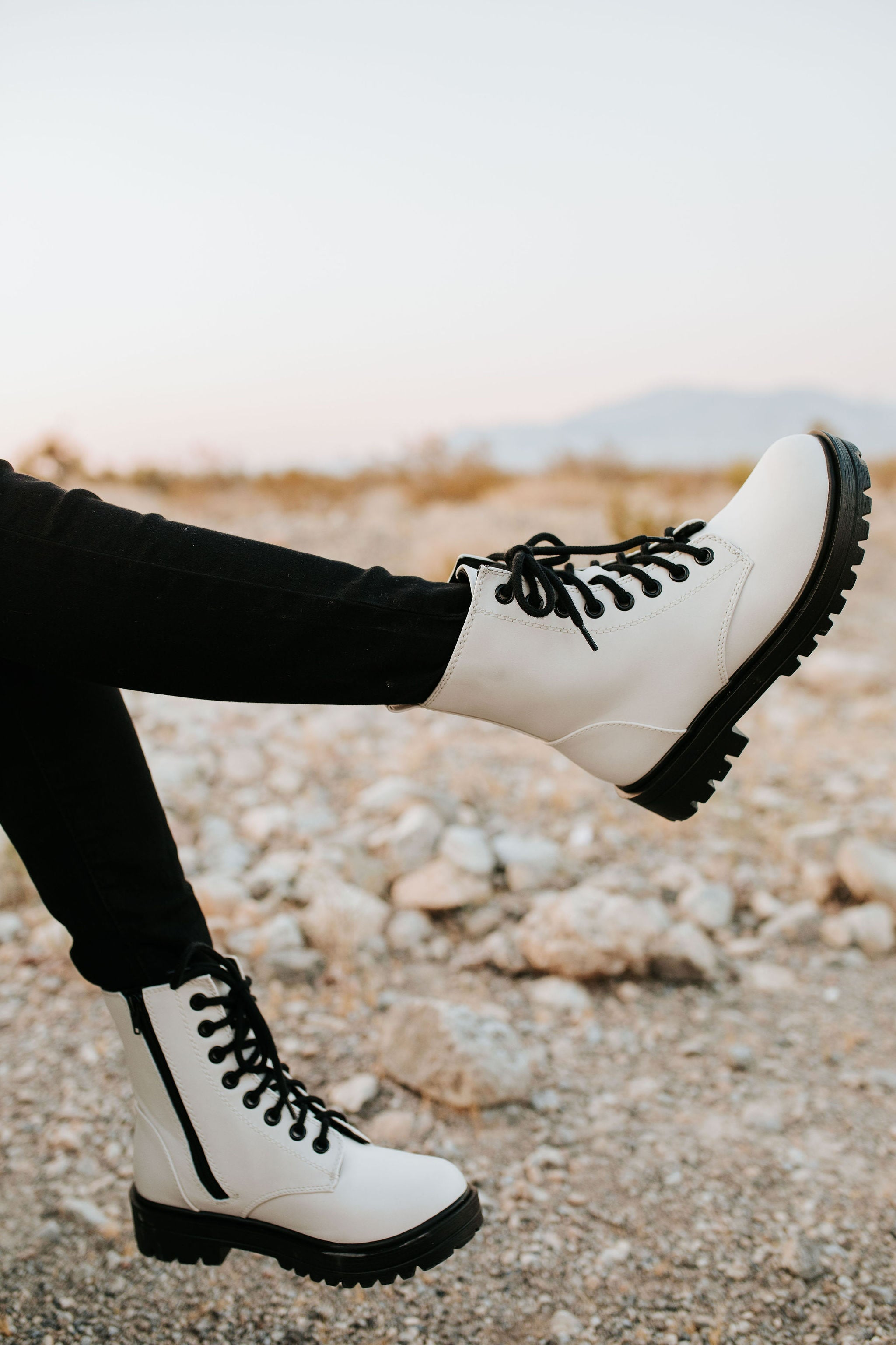 THE NOW OR NEVER COMBAT BOOT IN OFF WHITE