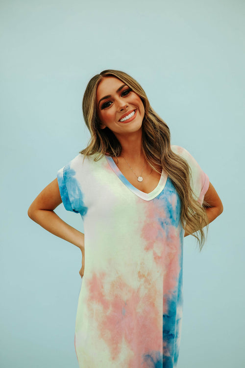 THE MARLEE MULTI COLORED TIE DYE DRESS