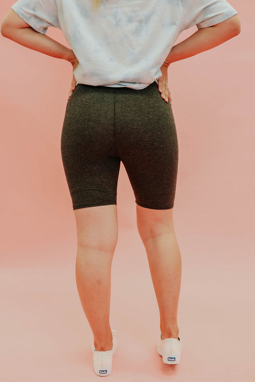 THE BAILEY BIKER SHORTS IN HEATHER CHARCOAL