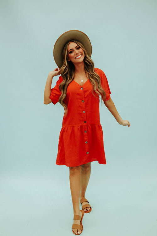 THE HEIDI BUTTON DOWN MINI DRESS IN HOT CORAL