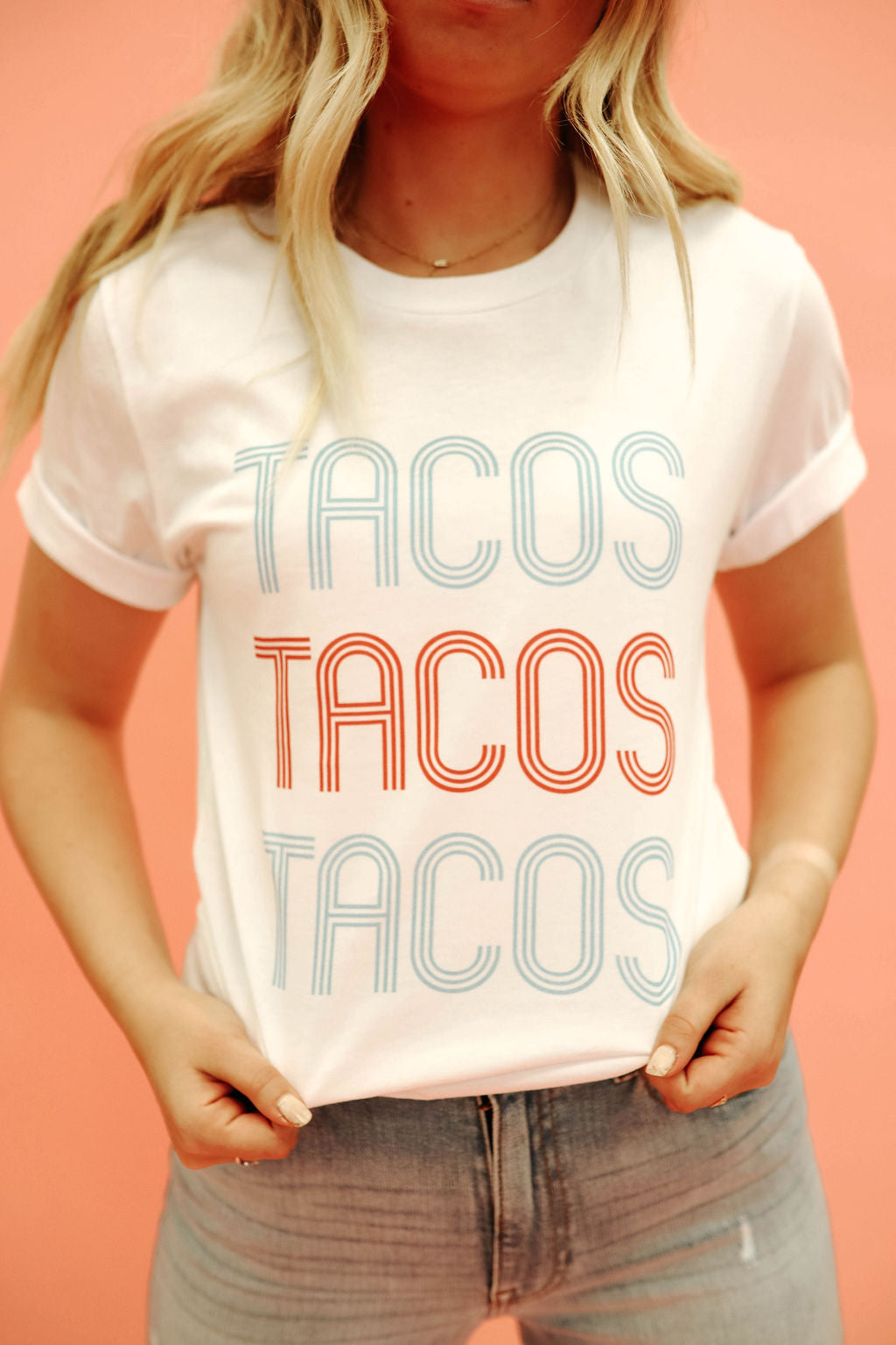 THE TRIPLE TACOS GRAPHIC TEE IN WHITE