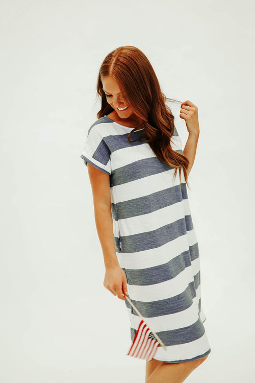 THE SHELBIE MIDI DRESS IN NAVY STRIPE
