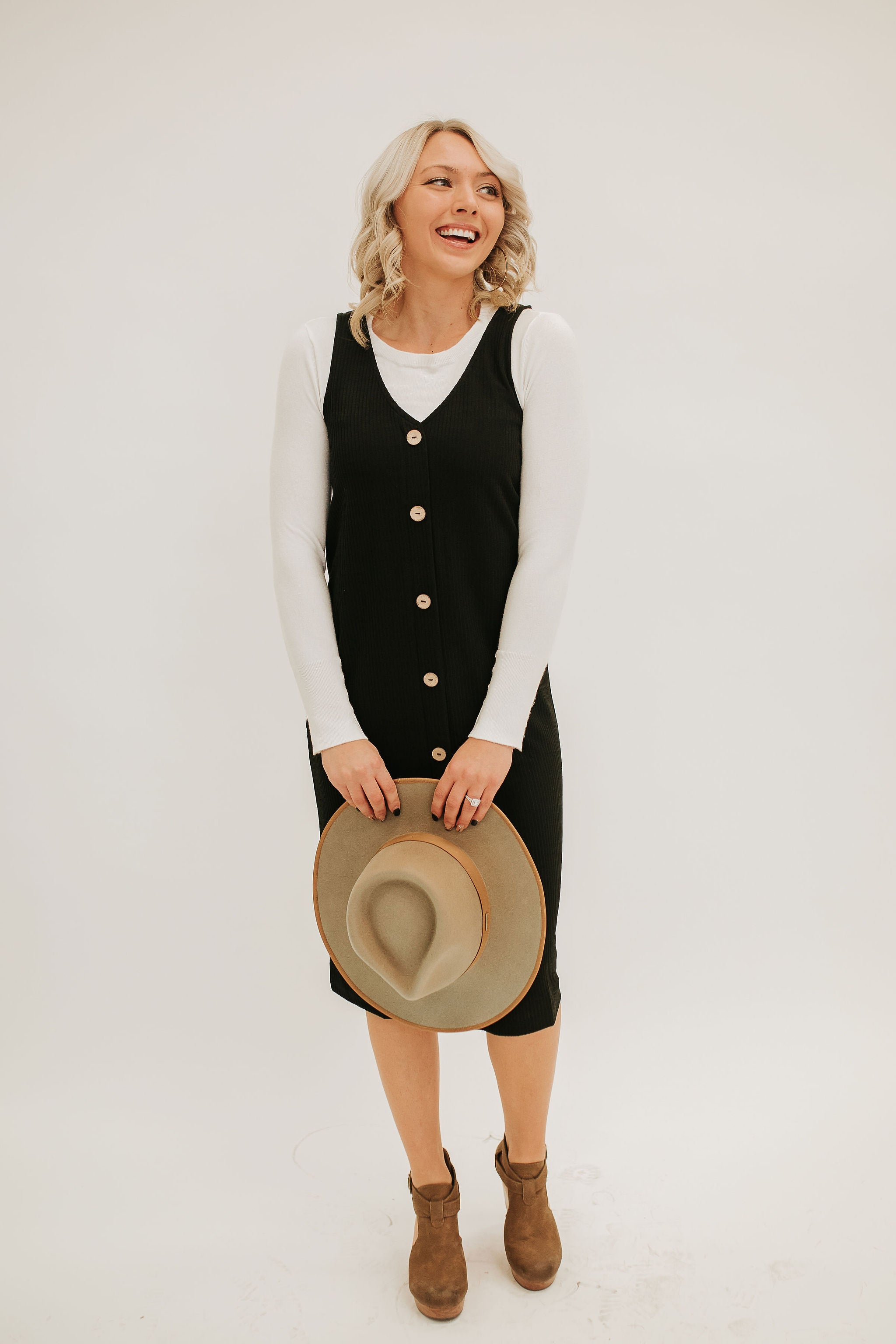 THE RYAN RIBBED MIDI BUTTON DOWN DRESS IN BLACK