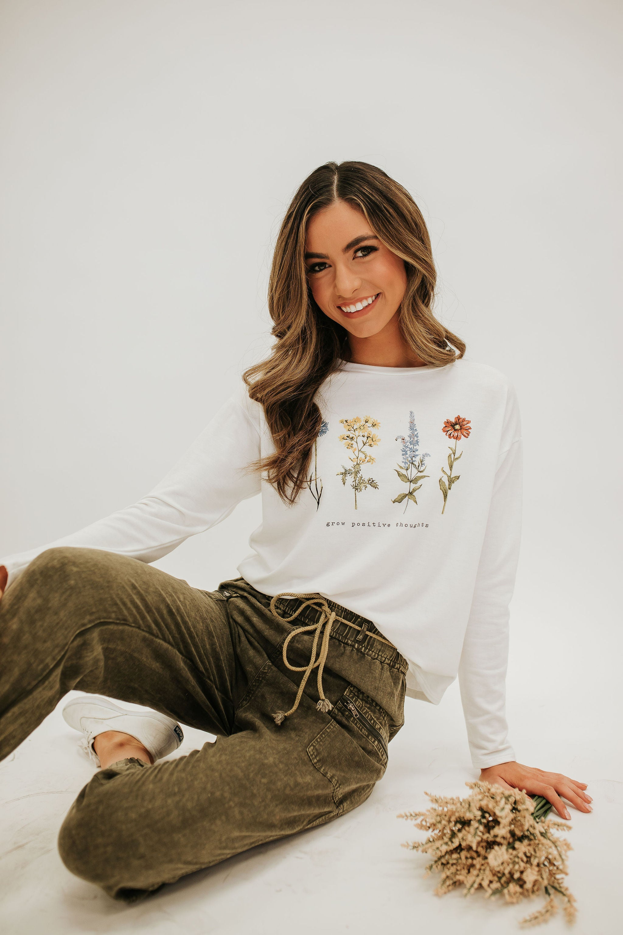THE FREYA FLORAL LONG SLEEVE IN IVORY