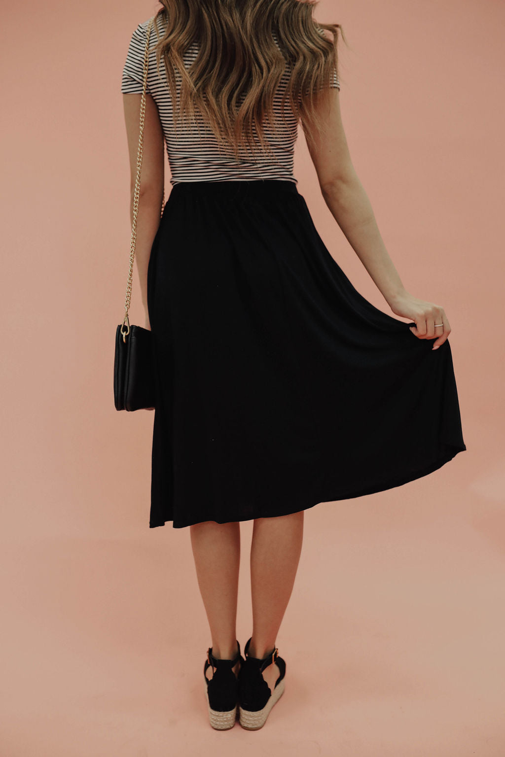 THE ELLA ELASTIC WAISTBAND SKIRT IN BLACK
