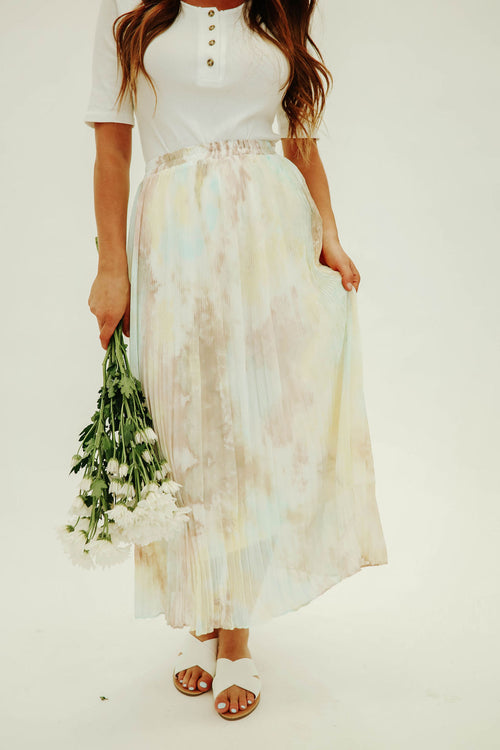 THE TEAGAN TIE DYE MIDI SKIRT