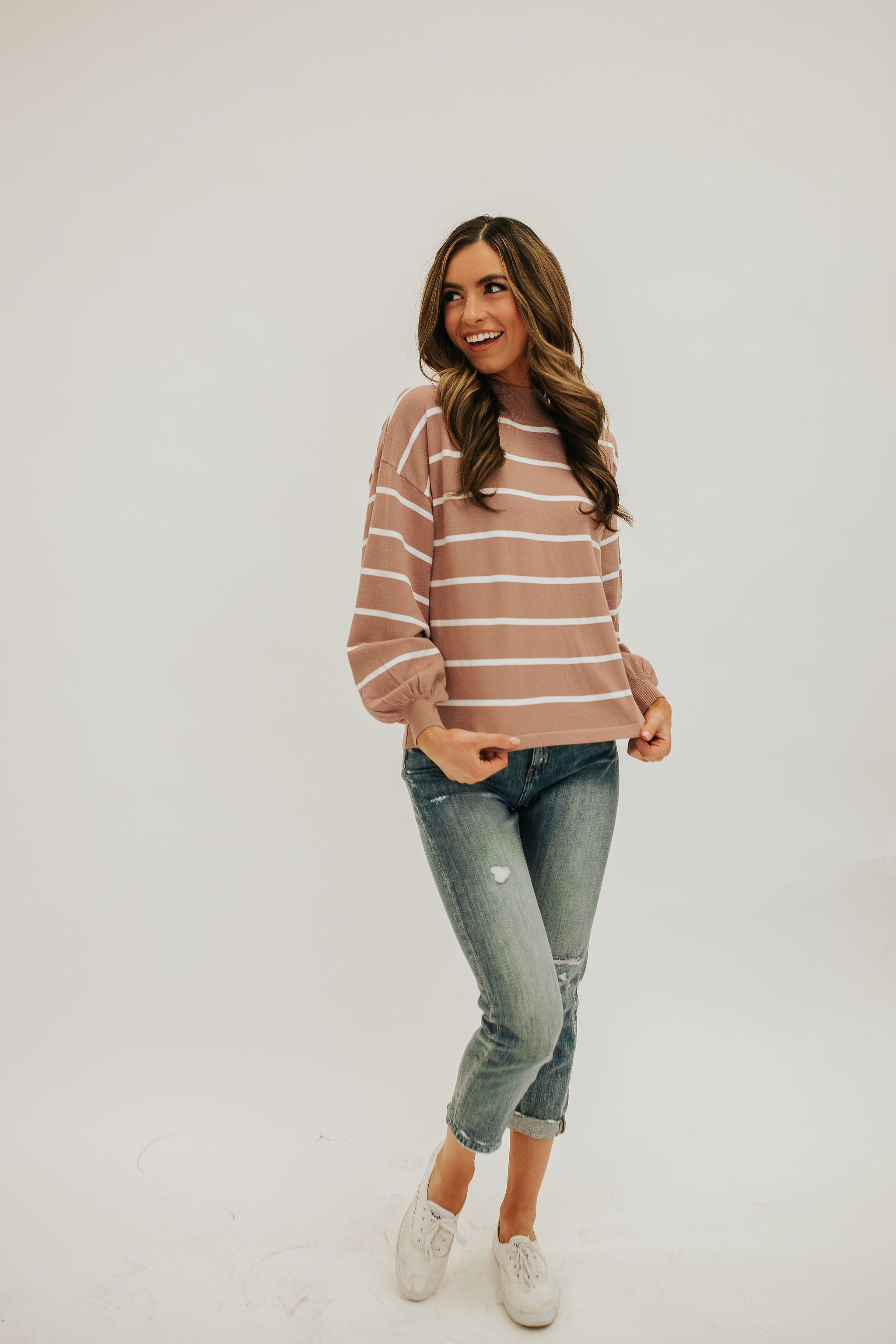 THE AMELIA STRIPED TOP IN MAUVE