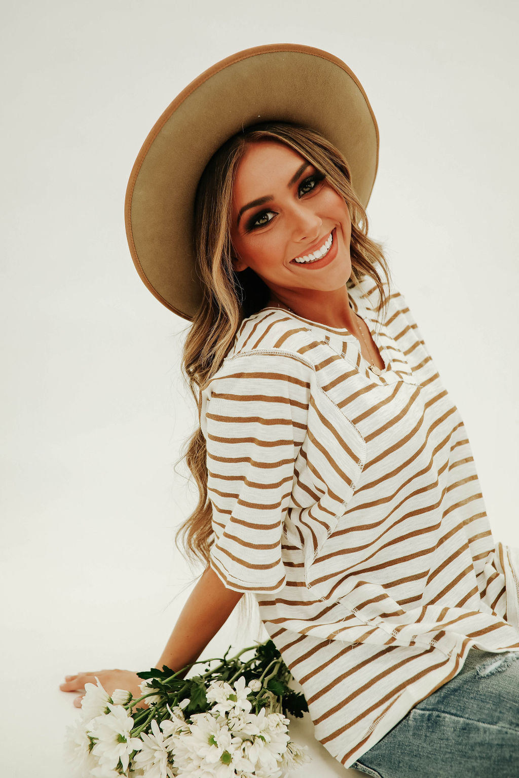 THE SOPHIE STRIPED SHIRT IN TAUPE