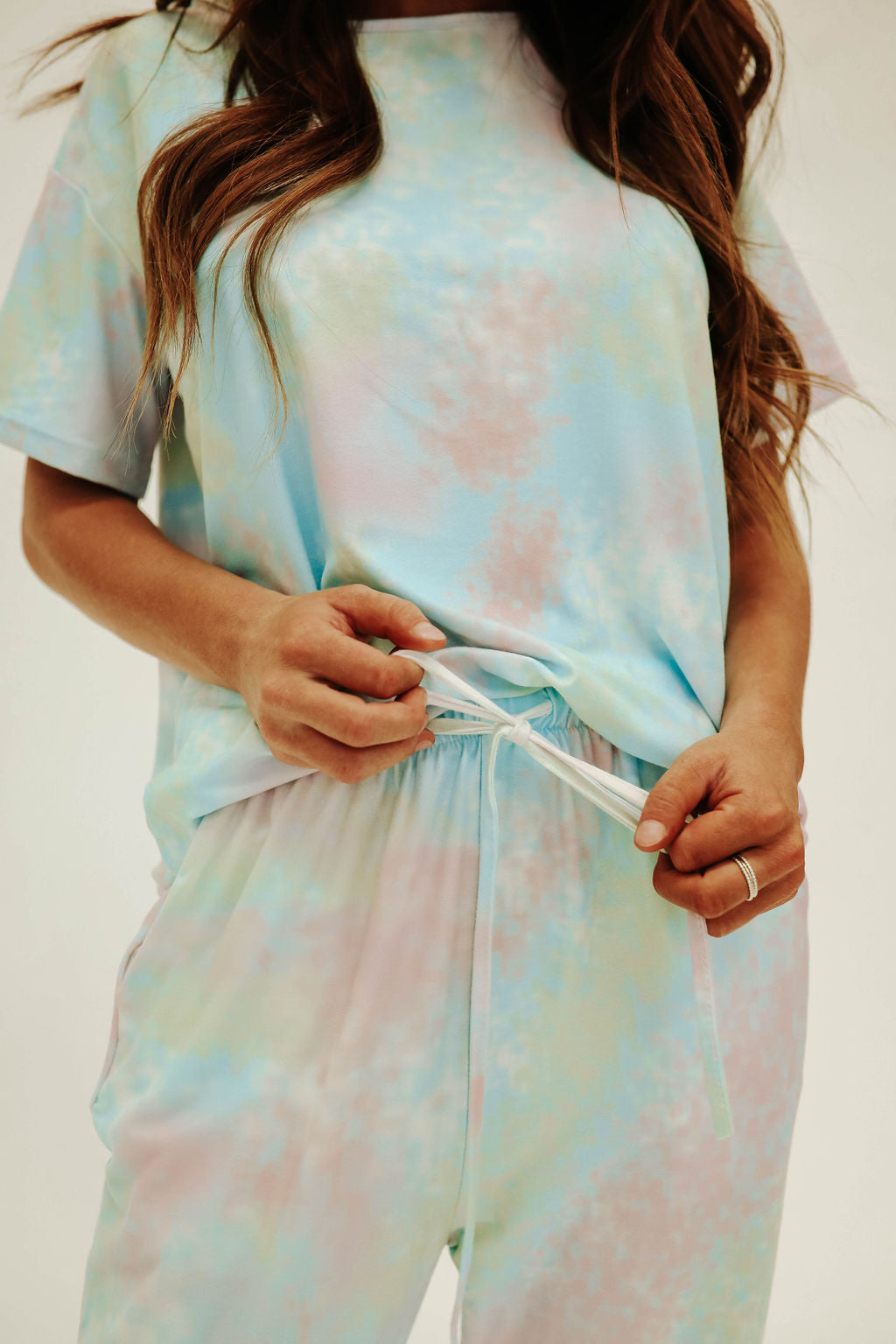 THE GABBY TIE DYE SET IN GREEN/BLUE MIX