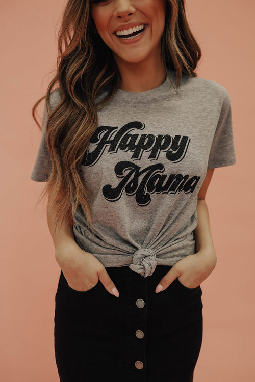 THE HAPPY MAMA GRAPHIC TEE IN GREY