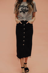 THE HENSLEY BUTTON DOWN SKIRT IN BLACK