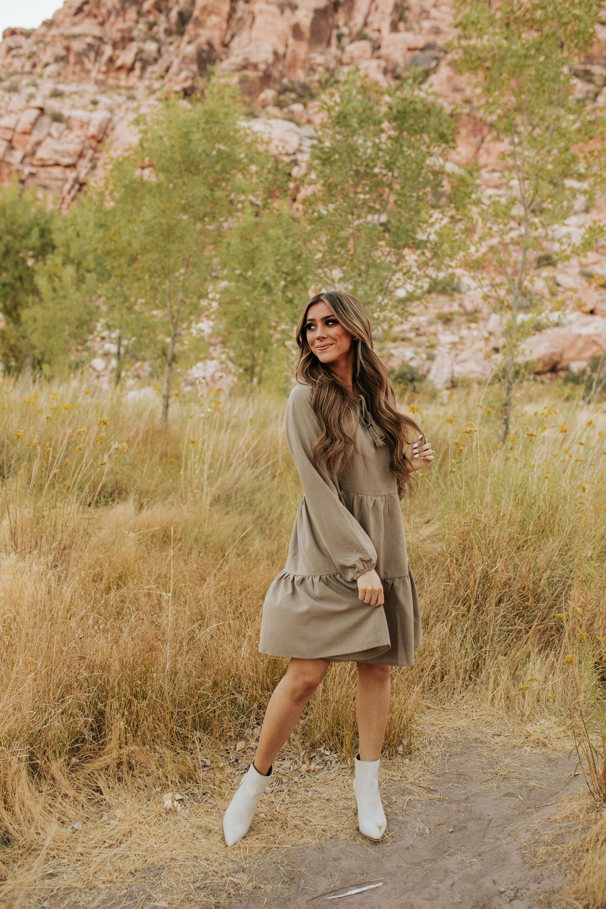 THE CECILIA BABY DOLL DRESS IN CEMENT
