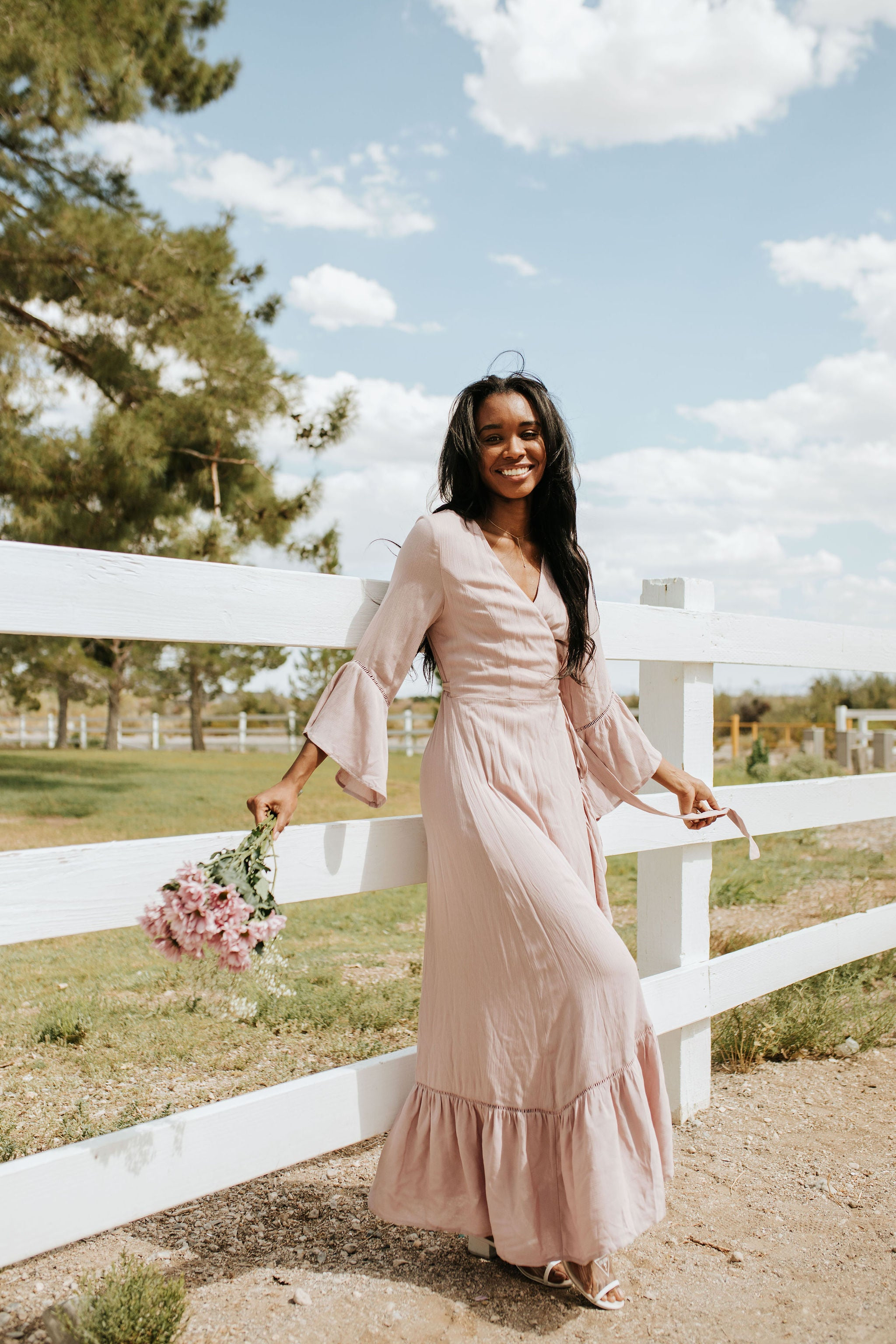 THE MADDOX RUFFLE MAXI WRAP DRESS IN DUSTY BLUSH