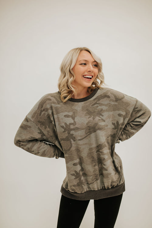 THE CARMELLA PULLOVER IN GREY CAMO