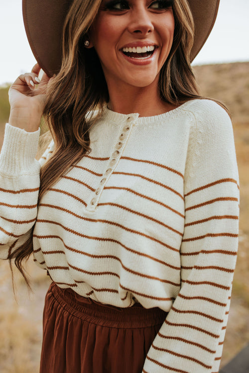 THE CALLEN SWEATER IN CARAMEL STRIPE
