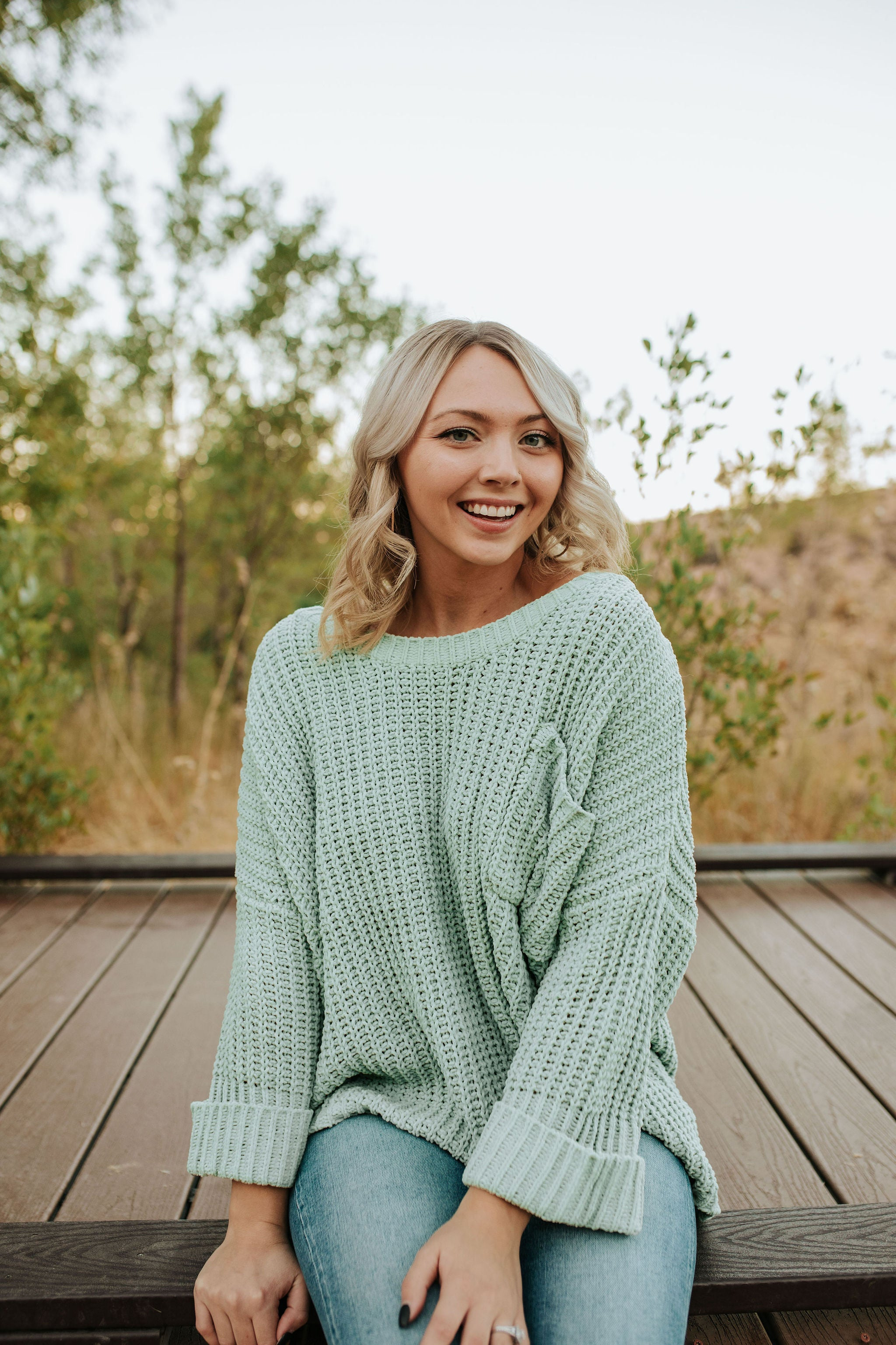 THE WHITNIE RELAXED FIT SWEATER IN WINTERGREEN