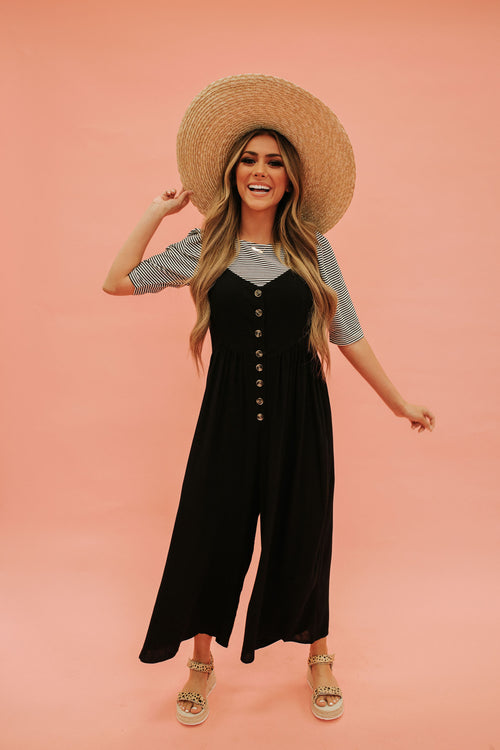 THE JENNIE BUTTON DOWN JUMPSUIT IN BLACK