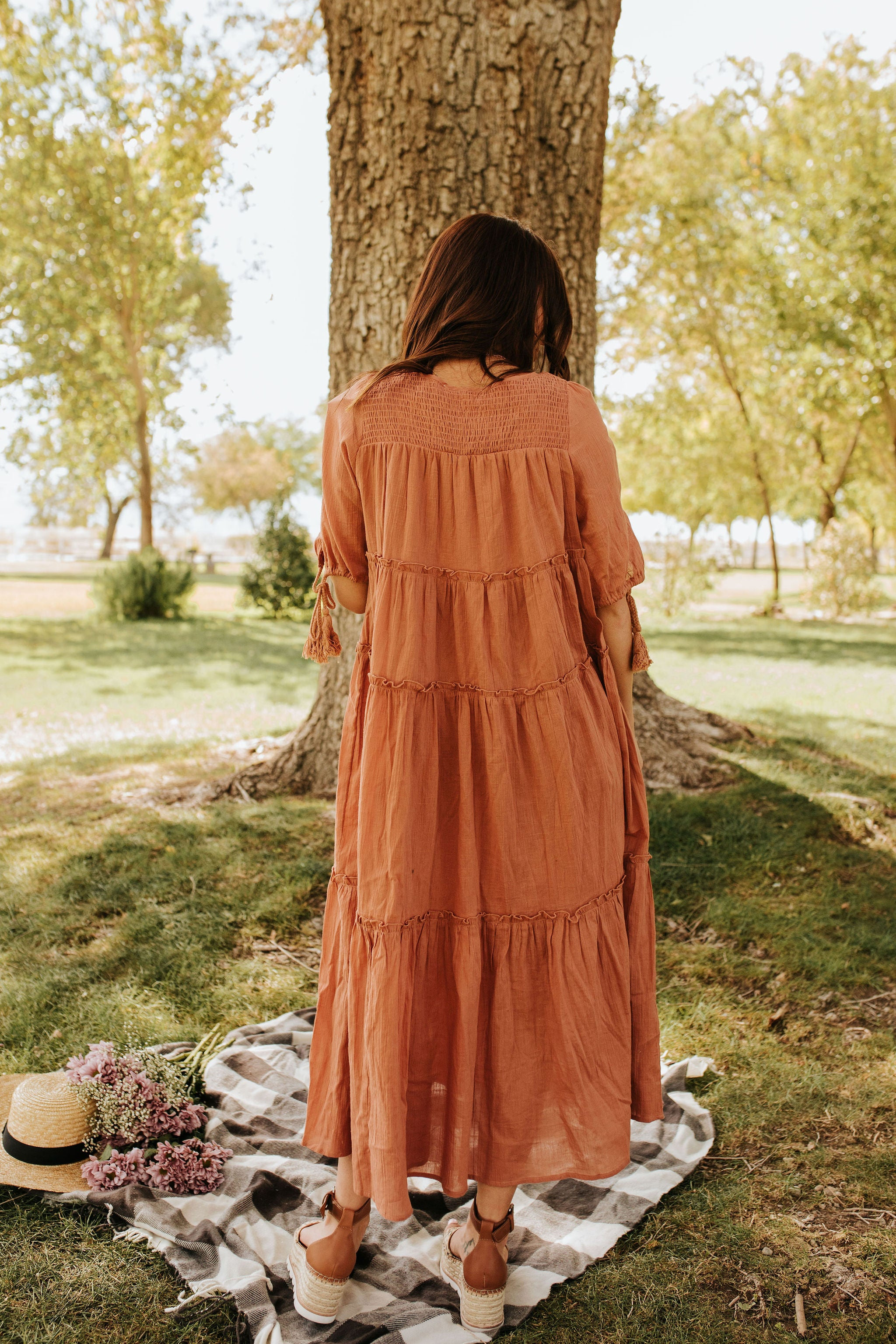 THE PRAIRIE TIERED RUFFLE MAXI DRESS IN CLAY