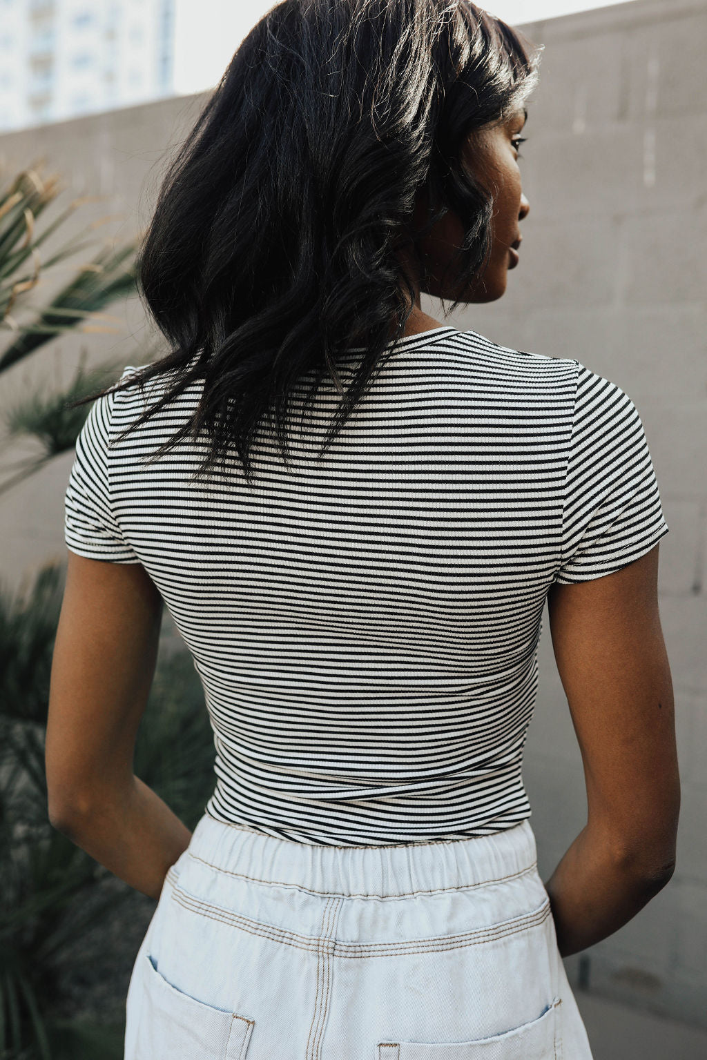 THE MAVIS STRIPE TOP IN BLACK