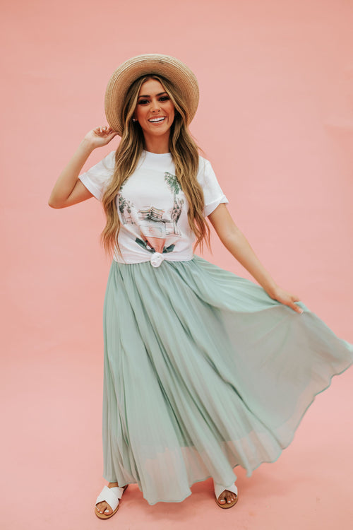 THE DANIELLA PLEATED MAXI SKIRT IN DUSTY SAGE
