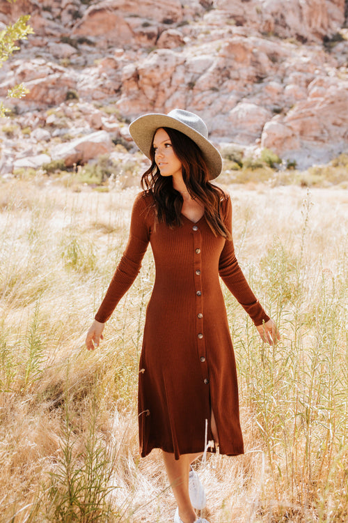 THE TAHOE SWEATER DRESS IN HAZELNUT
