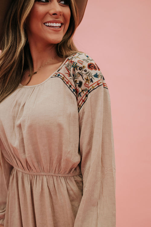 THE CORA EMBROIDERED DRESS IN CAMEL