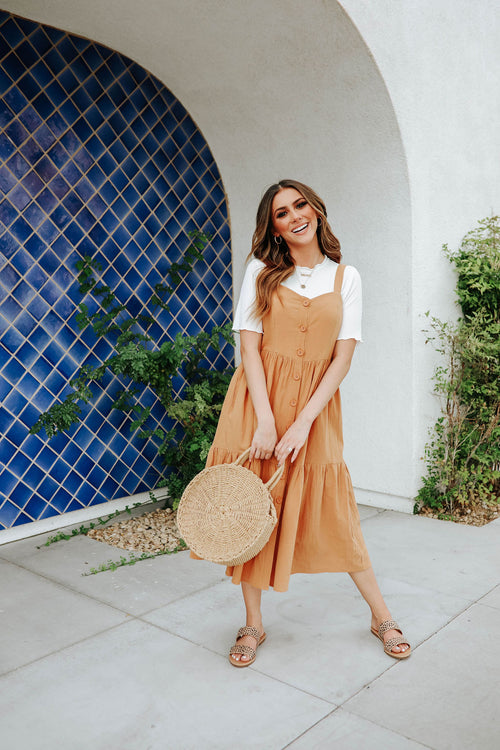 THE CANDACE SLEEVELESS MIDI DRESS IN CAMEL