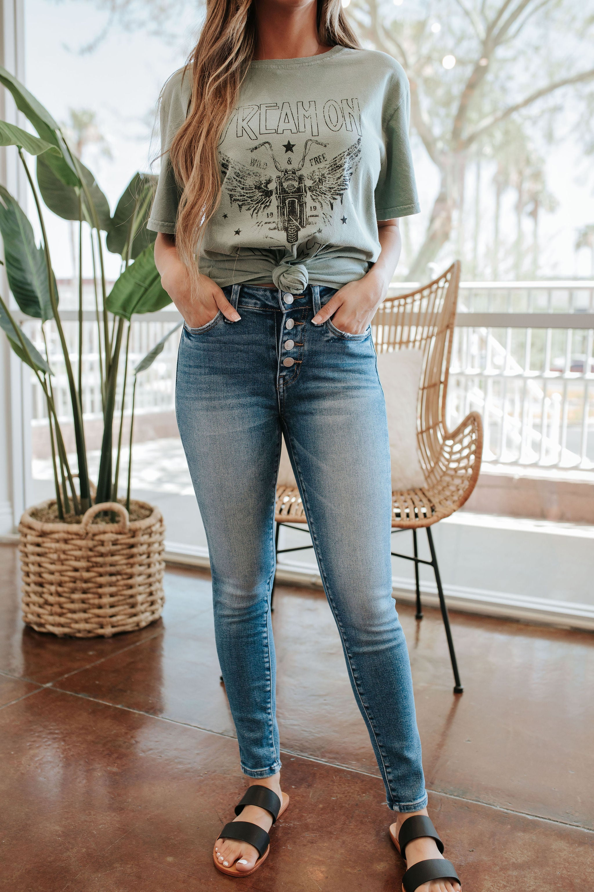 THE VERVET HIGH RISE BUTTON UP ANKLE SKINNY JEAN