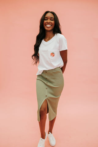 THE WILLOW WOVEN MIDI SKIRT IN TERRACOTTA