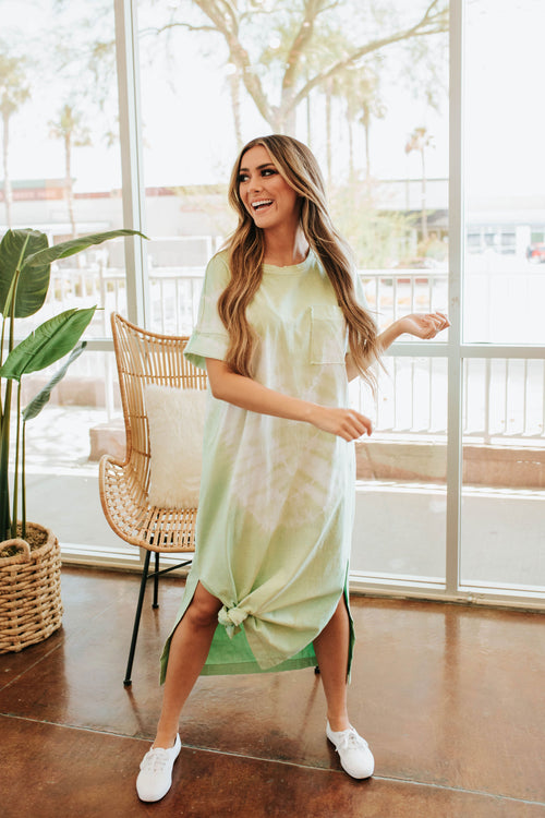 THE SALLY MAXI DRESS IN LIME TIE DYE