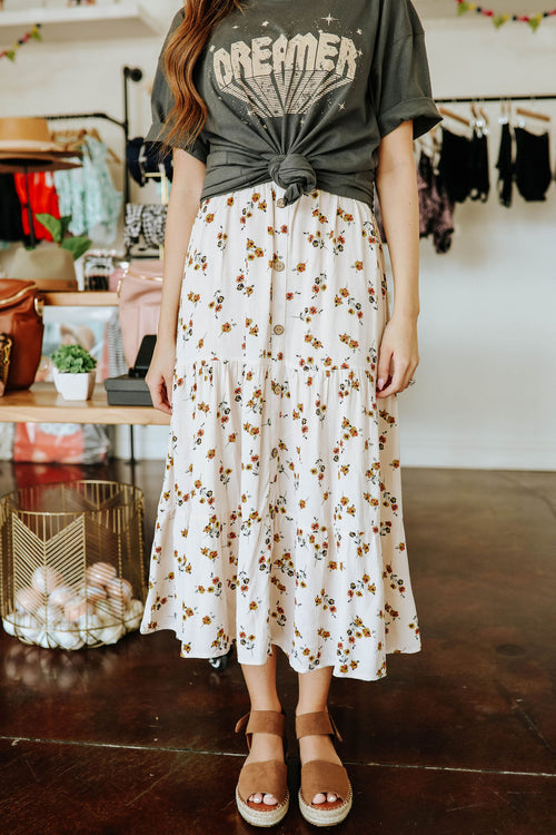 THE BLAKELY BUTTON DOWN MIDI SKIRT IN NATURAL