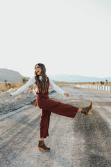 THE RYAN WIDE LEG JUMPSUIT IN RED CLAY