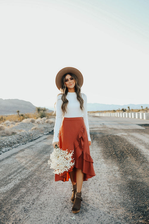 THE MILLER WRAP SKIRT IN BRICK
