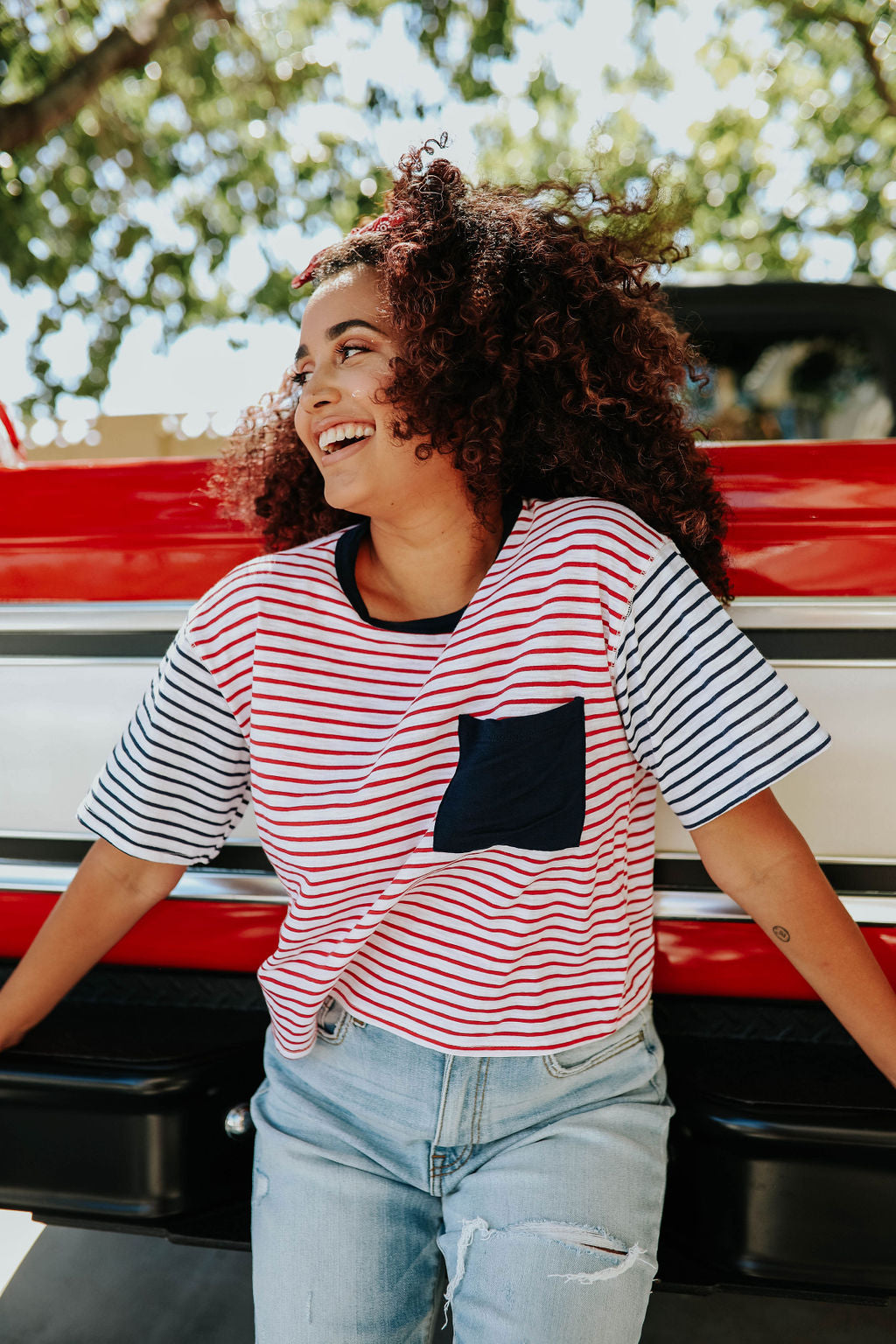 THE CROPPED TOP IN NAVY AND RED STRIPE