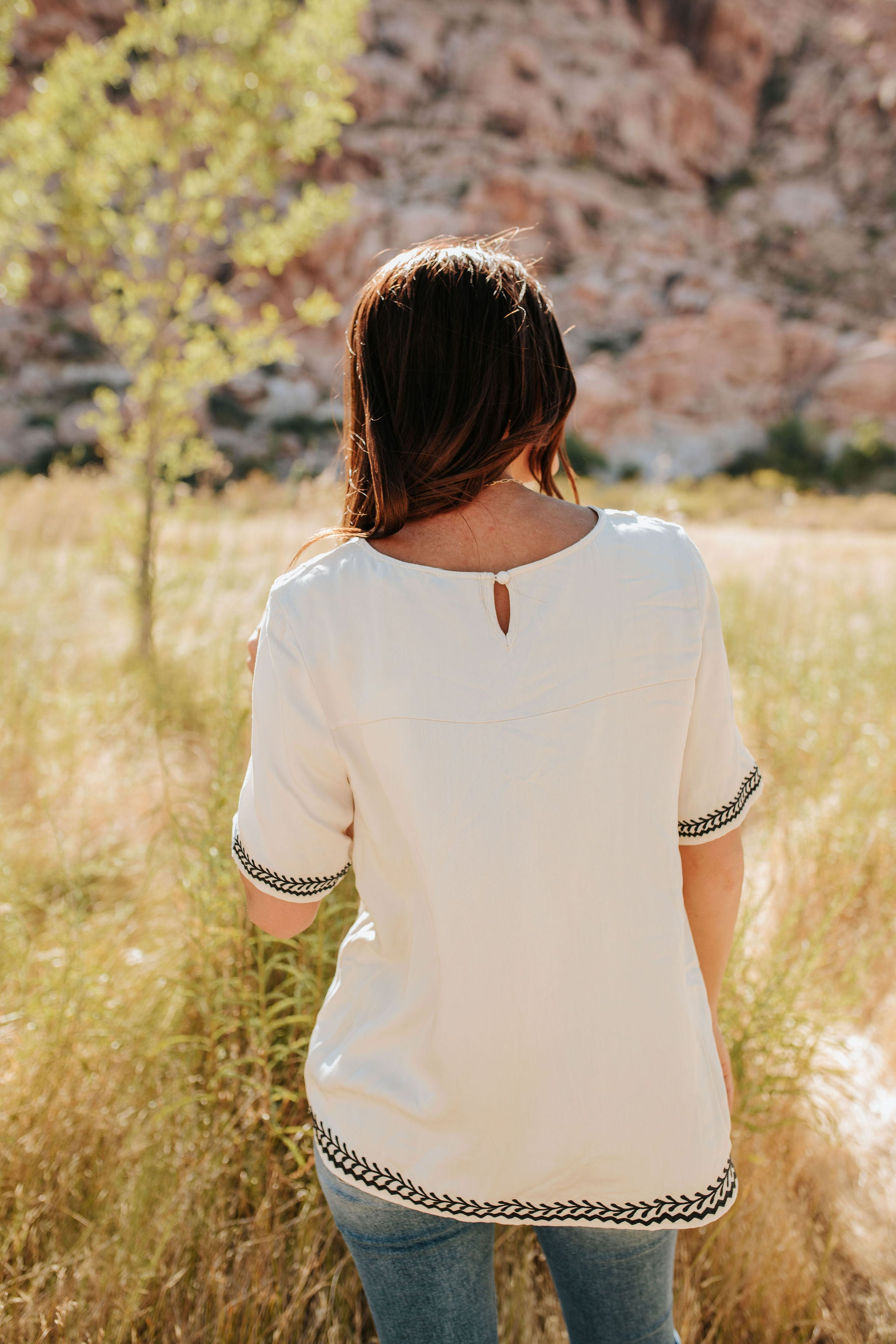 THE DAY TRIP EMBROIDERED TOP IN CREAM