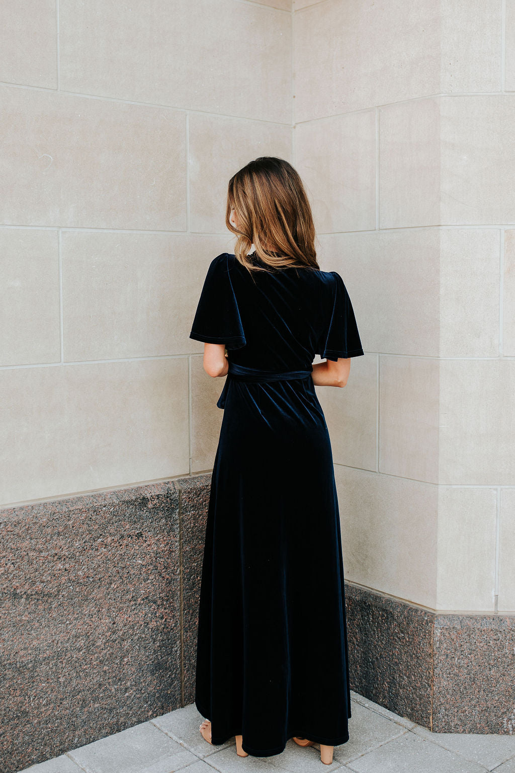 THE REGAL VELVET WRAP DRESS BY PINK DESERT IN NAVY