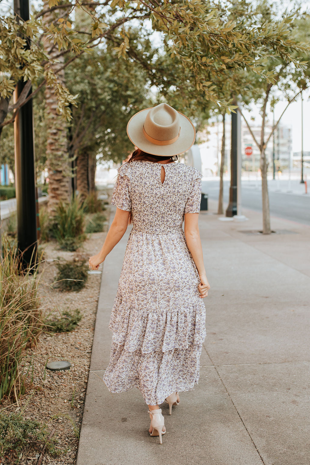 THE EMMALINE SMOCKED MAXI DRESS IN LAVENDER