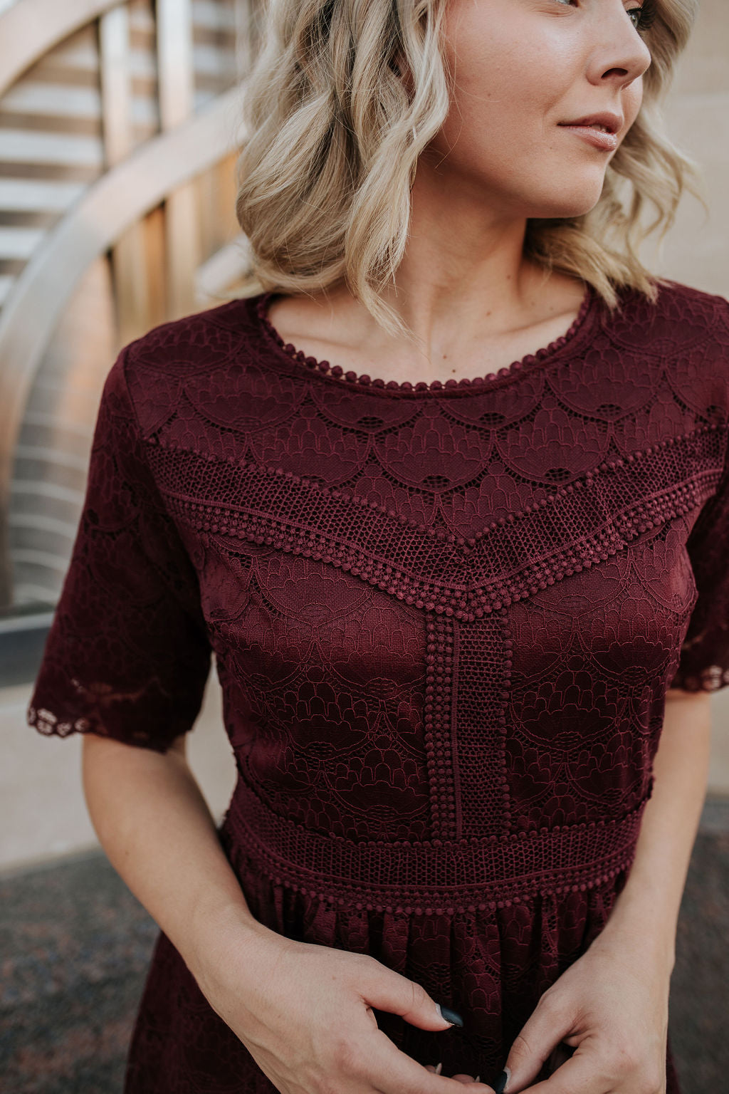 THE WINDSOR LACE MIDI DRESS IN WINE