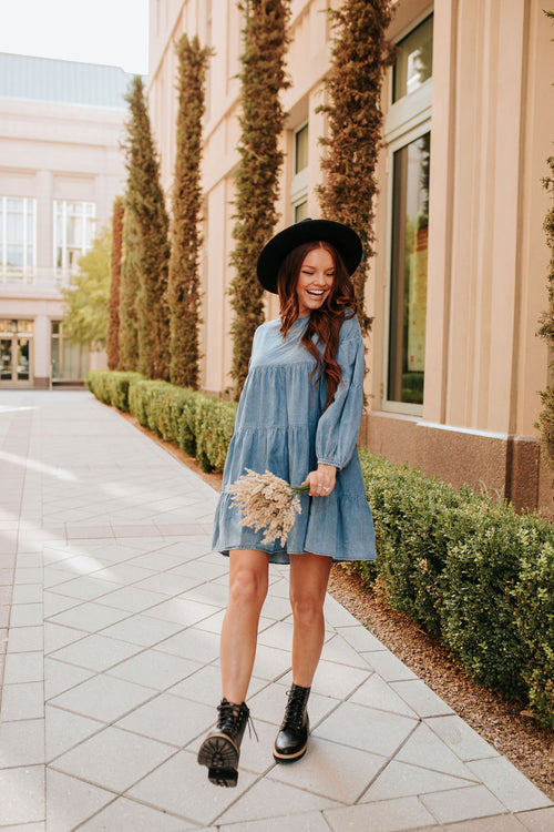 THE DELILAH DENIM BABYDOLL DRESS