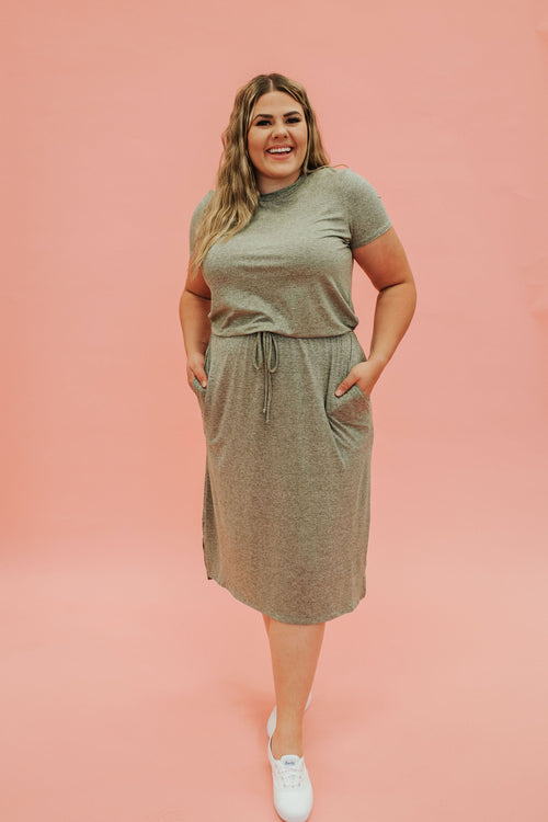 THE OLLIE MIDI DRESS IN HEATHER OLIVE