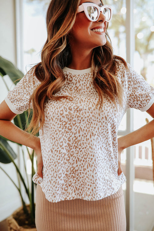 THE TILLIE LEOPARD TOP IN TAUPE