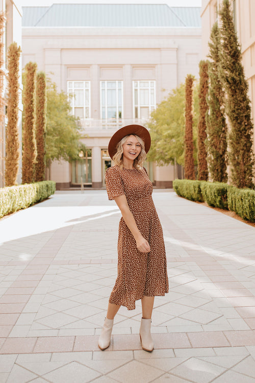 THE BERKELEY FLORAL MIDI DRESS IN BROWN