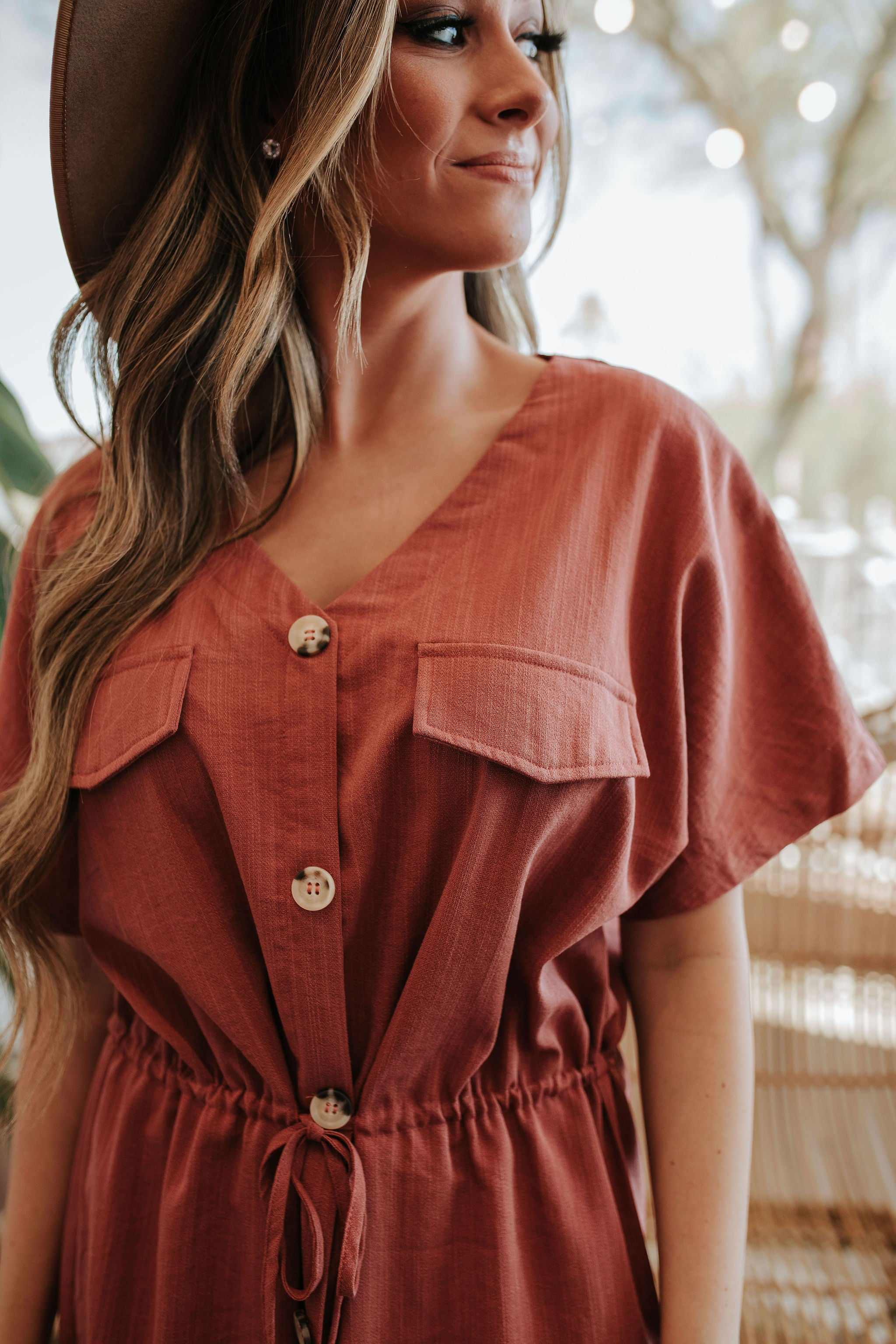 THE MADILYN BUTTON DOWN MIDI DRESS IN MARSALA