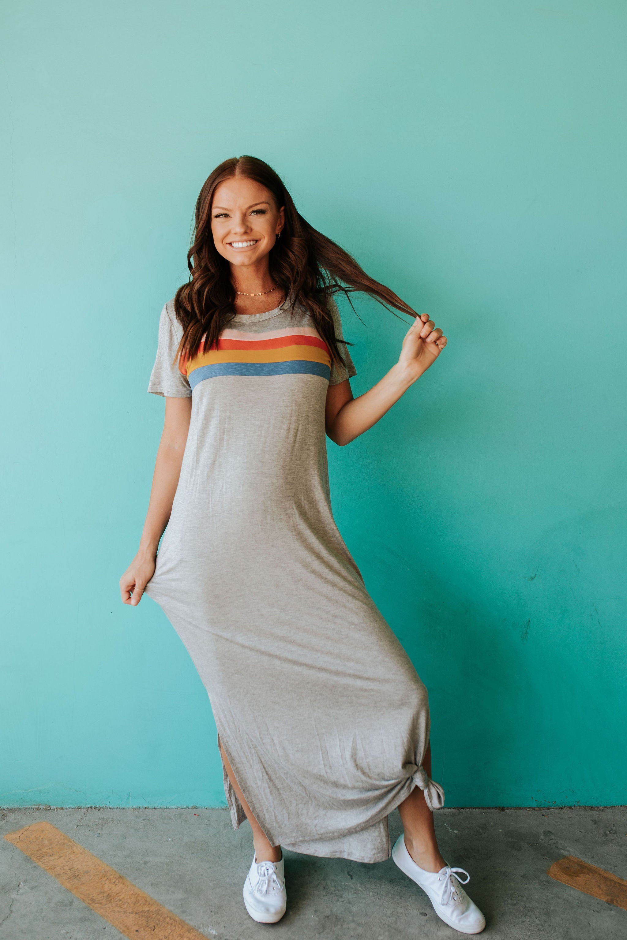 THE LET IT RAIN CASUAL MAXI DRESS IN GREY