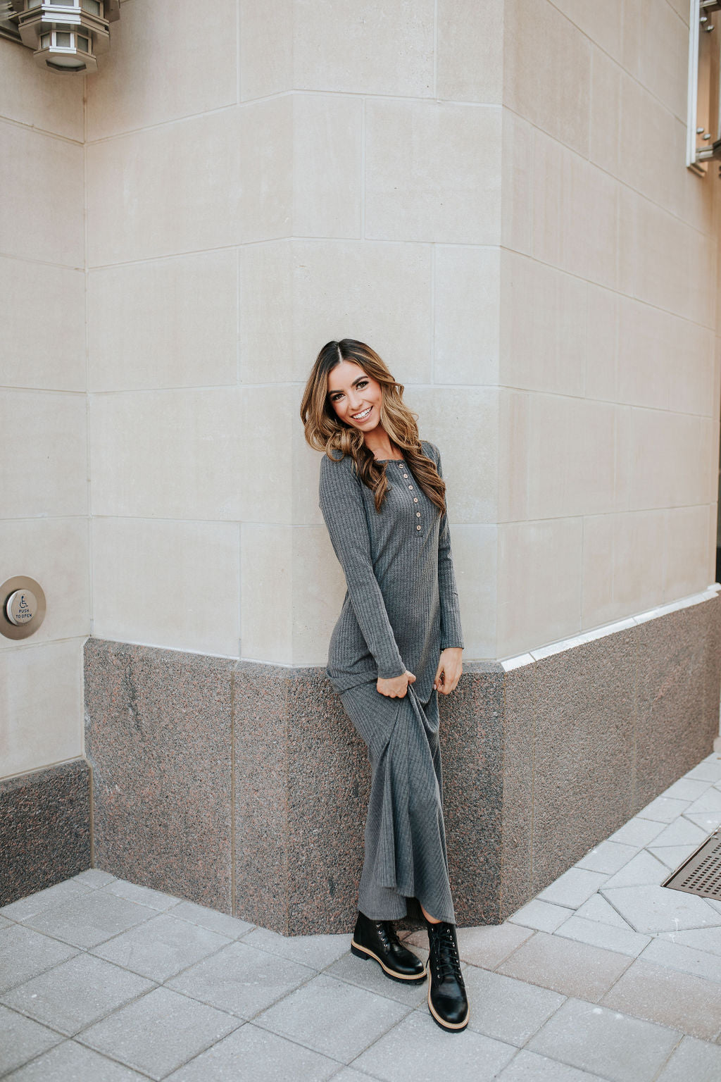 THE BIANCA LONG SLEEVE BUTTON DOWN MAXI KNIT DRESS